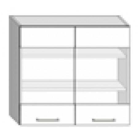 Natalia väggskåp med hyllplan/2 vitrindörrar - 80x72 cm