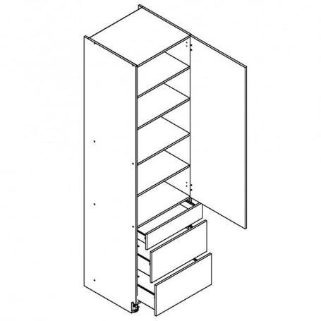 BONO högskåp med 3 lådor - 60x233 cm