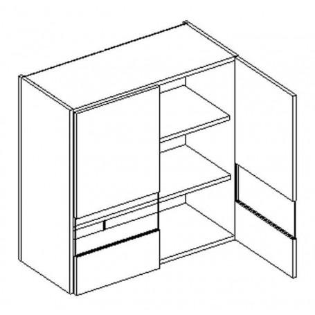 BONO väggskåp med hyllplan och 2 vitrindörr - 80x72 cm