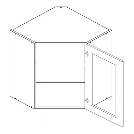 NERO vägghörnskåp med hyllplan 56 cm höjd / 1 vitrindörr - WRS/56 P/L