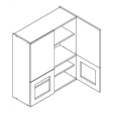 NERO väggskåp med 2 dörrar och 2 vitrindörrar - 80x92 cm