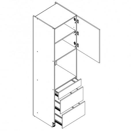 BONO högskåp för inbyggnadsugn med 3 lådor - 60x213 cm