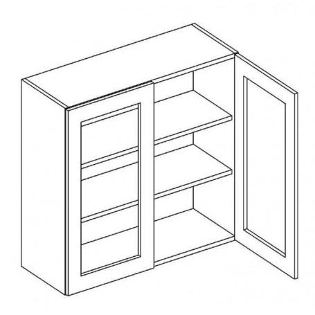 NERO väggskåp med 2 vitrindörrar - 80x72 cm