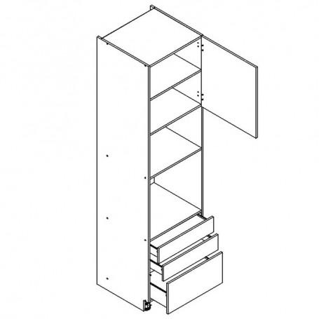 BONO högskåp för inbyggnadsugn och mikrovågsugn / 2 lådor - 60x233 cm