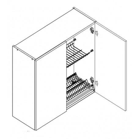 BONO väggskåp med diskställ och droppbricka / 2 dörrar - 60x72 cm