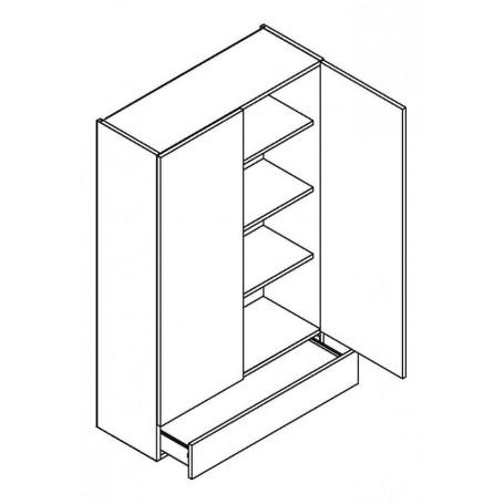BONO väggskåp med 2 dörrar och 1 låda - 80x127 cm