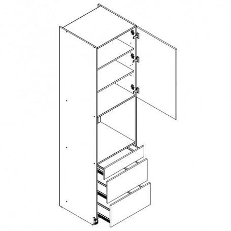 BONO högskåp för inbyggnadsugn med 3 lådor - 60x218 cm