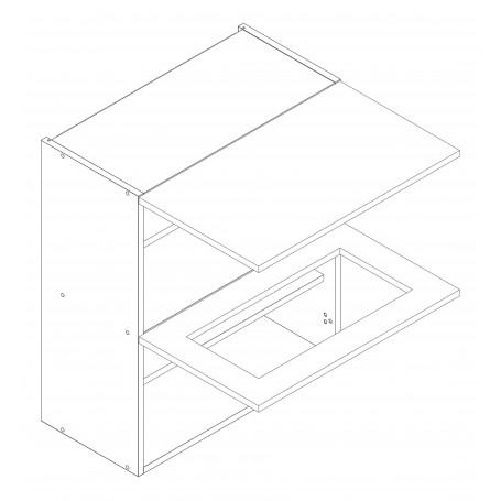 ADELE väggskåp horisontalt med vitrindörr - 60x72 cm
