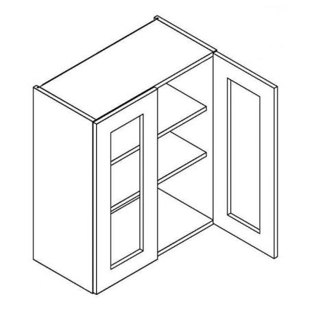 NERO väggskåp med 2 vitrindörrar - 60x72 cm