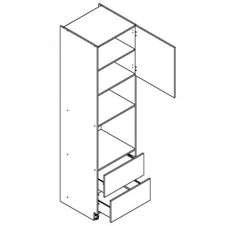 BONO högskåp för inbyggnadsugn och mikrovågsugn / 2 lådor - 60x238 cm