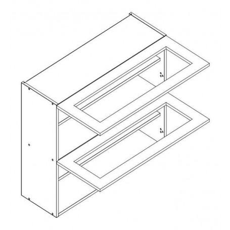 NERO väggskåp horisontalt med 2 vitrindörr - 60x72 cm