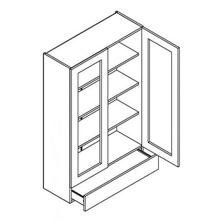 NERO väggskåp med 2 vitrindörrar och 1 låda - 80x127 cm