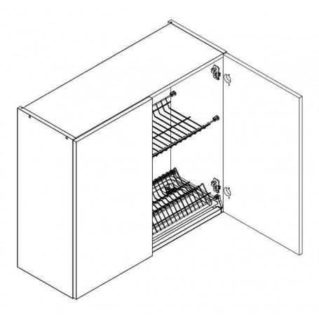 BONO väggskåp med diskställ och droppbricka / 2 dörrar - 80x72 cm