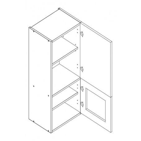 MONIUSZKO väggskåp med hyllplan / 1 vitrindörr - 40x92 cm