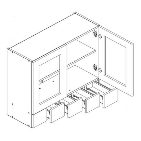 MONIUSZKO väggskåp med 2 vitrindörrar och 5 lådor - 80x72 cm