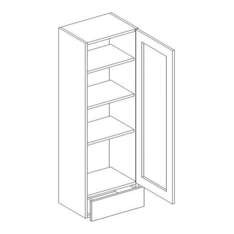 NERO väggskåp med vitrindörr och 1 låda - 40x128 cm