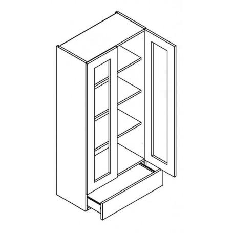 NERO väggskåp med 2 vitrindörrar och 1 låda - 60x127 cm