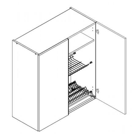 BONO väggskåp med diskställ och droppbricka / 2 dörrar - 60x92 cm