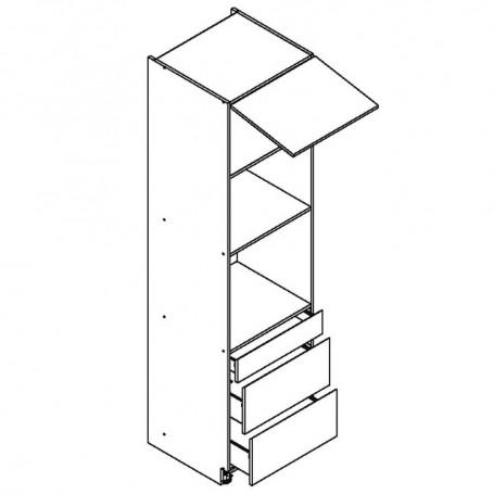 BONO högskåp för inbyggnadsugn och mikrovågsugn / 3 lådor - 60x213 cm