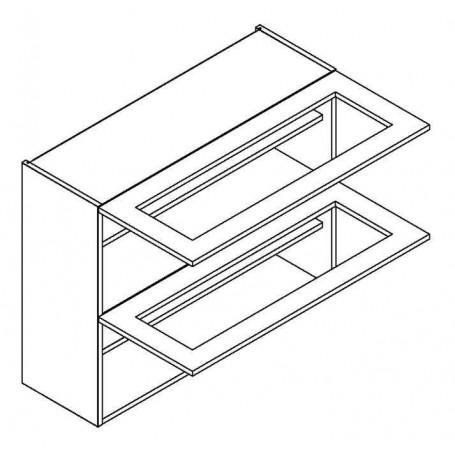 NERO väggskåp horisontalt med 2 vitrindörr - 90x72 cm