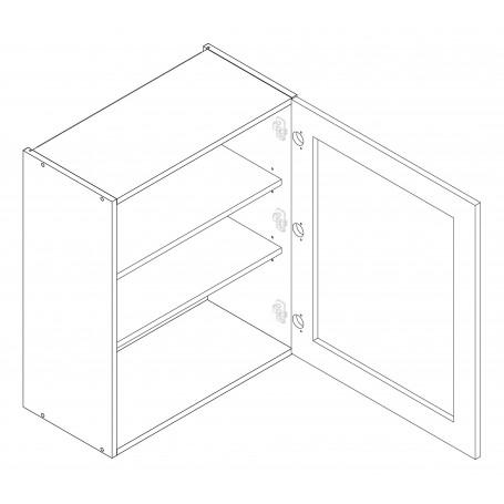 LIVIA väggskåp med hyllplan/vitrindör - 60x72 cm