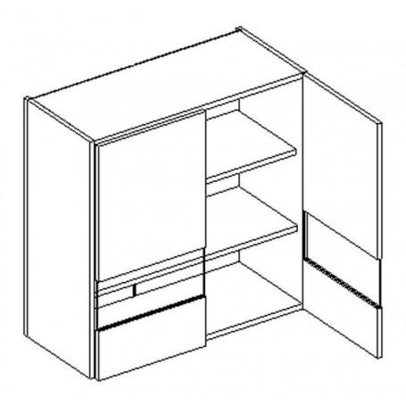 OSCAR väggskåp med hyllplan/2 vitrindörrar - 80x72 cm