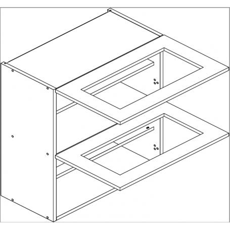 BLANKA väggskåp horisontalt med vitrindörr - 80x72 cm