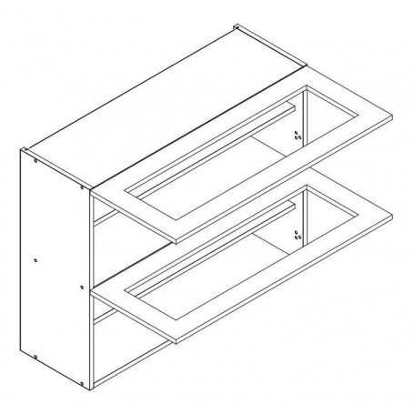Lungo&Macchiato BIS väggskåp horisontalt med vitrindörr - 80x72 cm