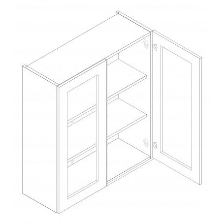 ADELE väggskåp med hyllplan/2 vitrindörrar - 80x72 cm
